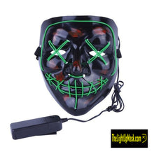 Load image into Gallery viewer, The Light Up Mask LED Stitches Purge Mask in Green with 3 control modes.