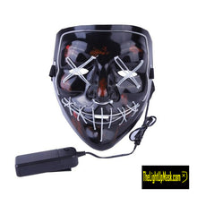 Load image into Gallery viewer, The Light Up Mask LED Stitches Purge Mask in Light Blue with 3 control modes.