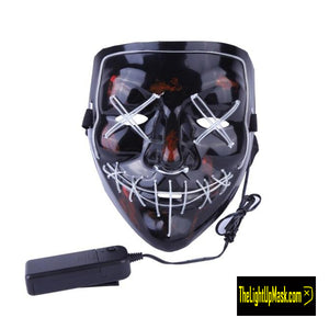 The Light Up Mask LED Stitches Purge Mask in Light Blue with 3 control modes.