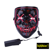 Load image into Gallery viewer, The Light Up Mask LED Stitches Purge Mask in Pink with 3 control modes.