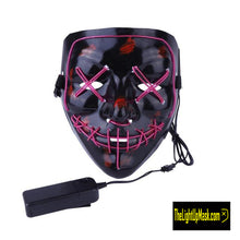 Load image into Gallery viewer, The Light Up Mask LED Stitches Purge Mask in Purple with 3 control modes.