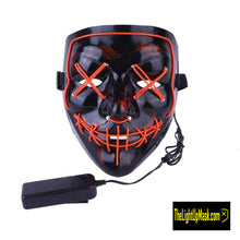 Load image into Gallery viewer, The Light Up Mask LED Stitches Purge Mask in Red with 3 control modes.
