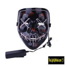 Load image into Gallery viewer, The Light Up Mask LED Stitches Purge Mask in White with 3 control modes.