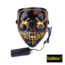 Load image into Gallery viewer, The Light Up Mask LED Stitches Purge Mask in Yellow with 3 control modes.