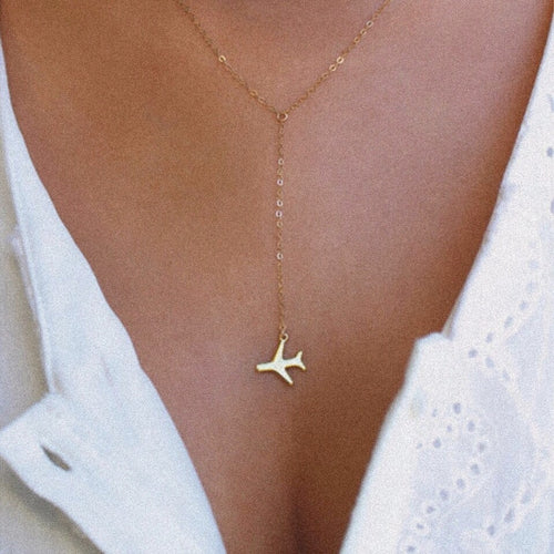 World Plane Charm Necklace