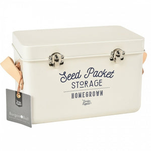 Leather Handled Seed Storage Tin - Stone - The Cottage Gardener