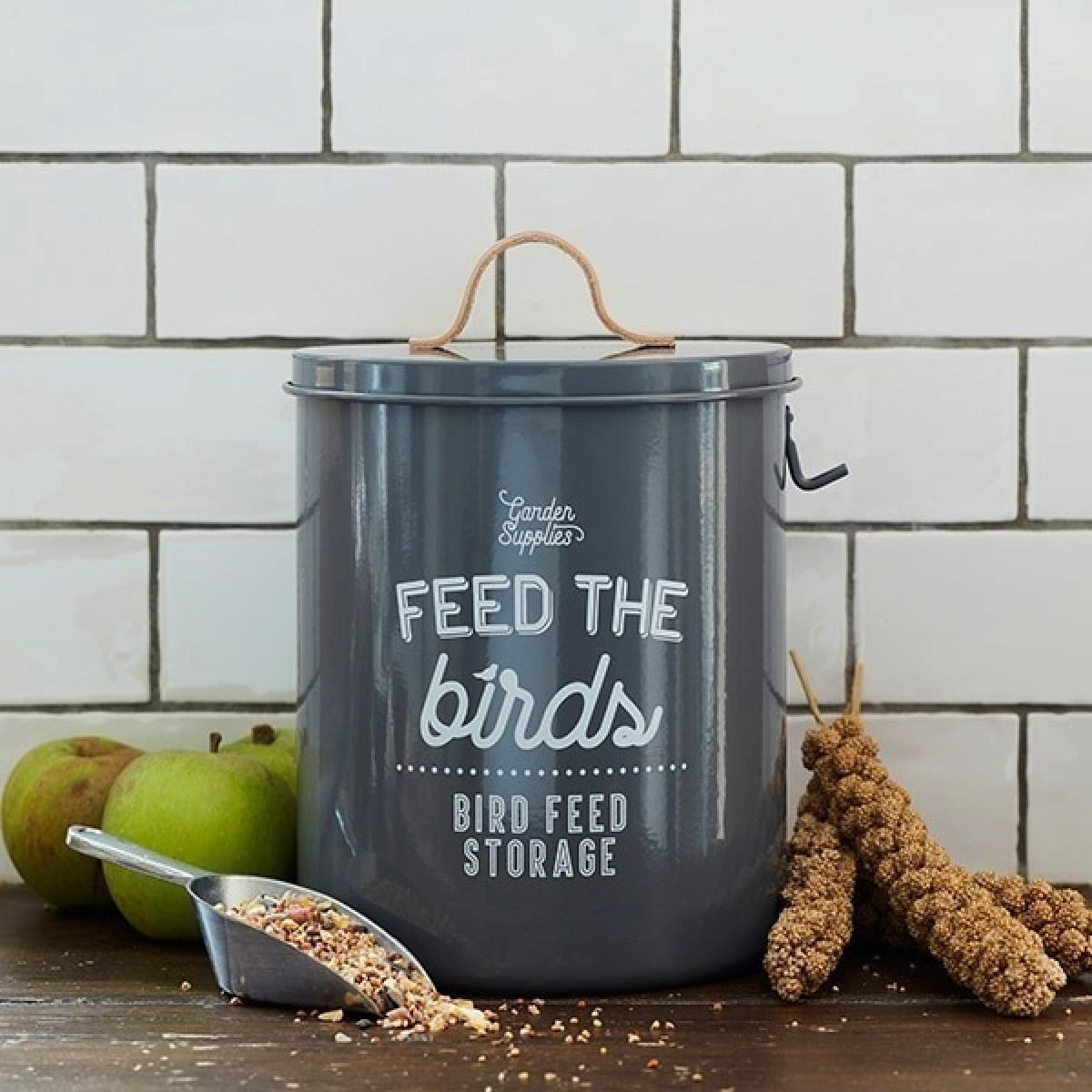 'Feed the Birds' Bird Food Tin - Charcoal - The Cottage Gardener