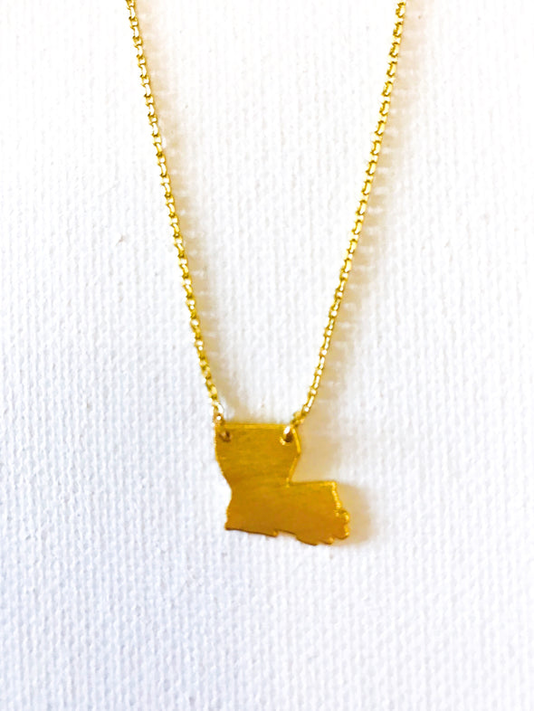 Small Gold State Necklace