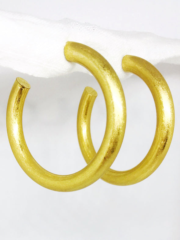 50mm Thick Worn Gold Open Hoops