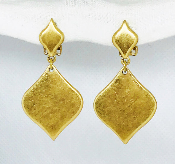 Brushed Gold Triangle Dangle Clip On Earrings