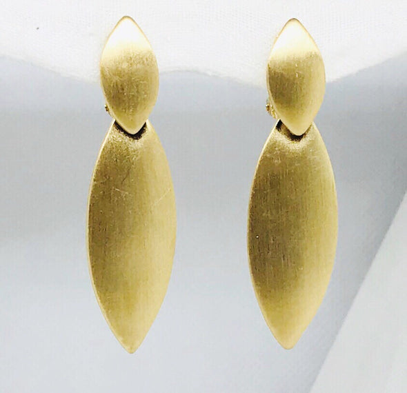Matte Gold Long Metal Clip On Earrings