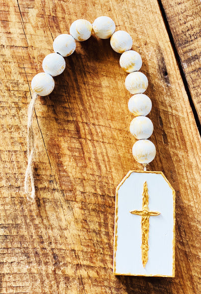 Welcoming Beads with Cross on Wood