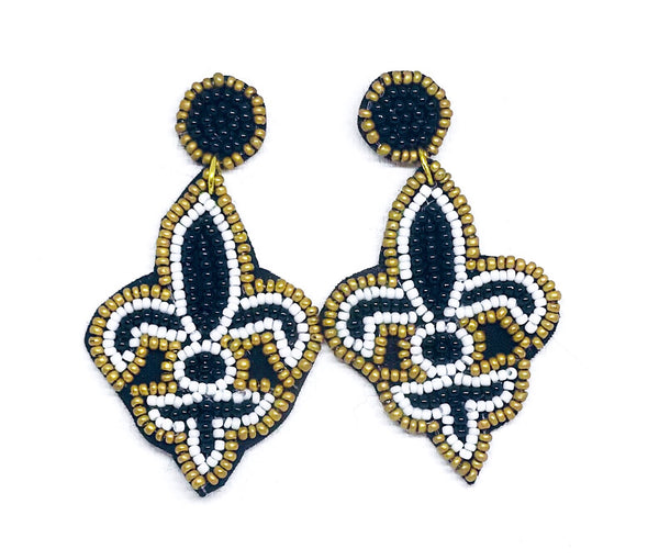 Gold & Black Beaded Fleur de Lis Earrings