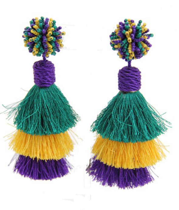 Mardi Gras Tassel Earrings