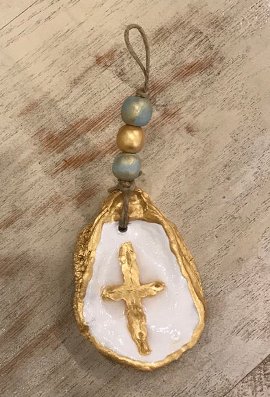 Oyster Cross with Wood Beads