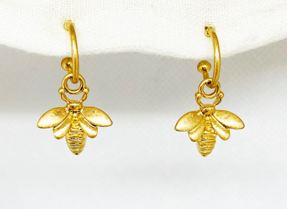Huggie Bee Hoop Earrings