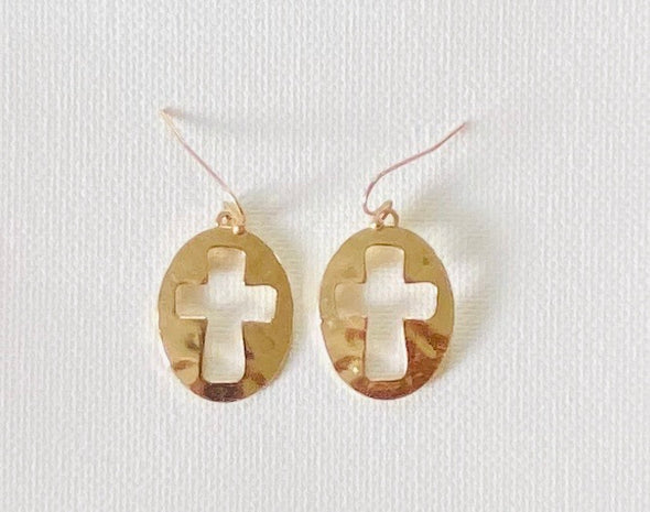 Oval Shape Cross Cutout Dangle Earrings