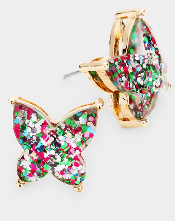 Glitter Butterfly Stud Earrings