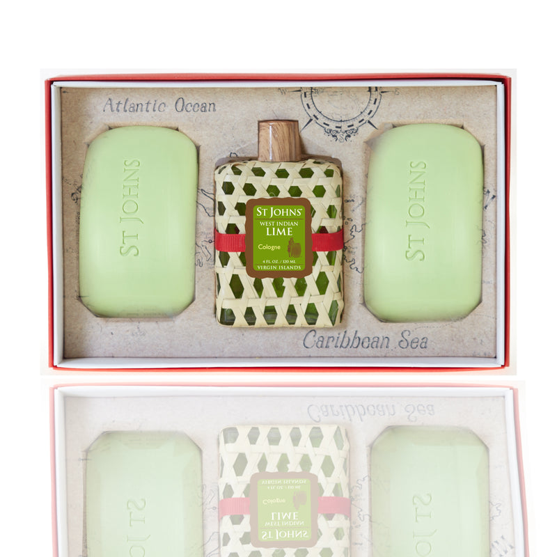 St Johns Woven Gift Sets West Indian Lime Cologne / West Indian Lime Soap (2 Bars)