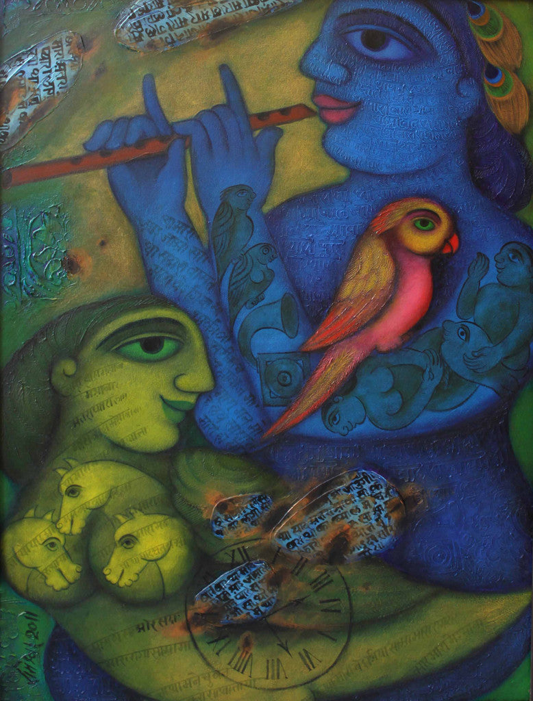 Blue Krishna with a green Bird