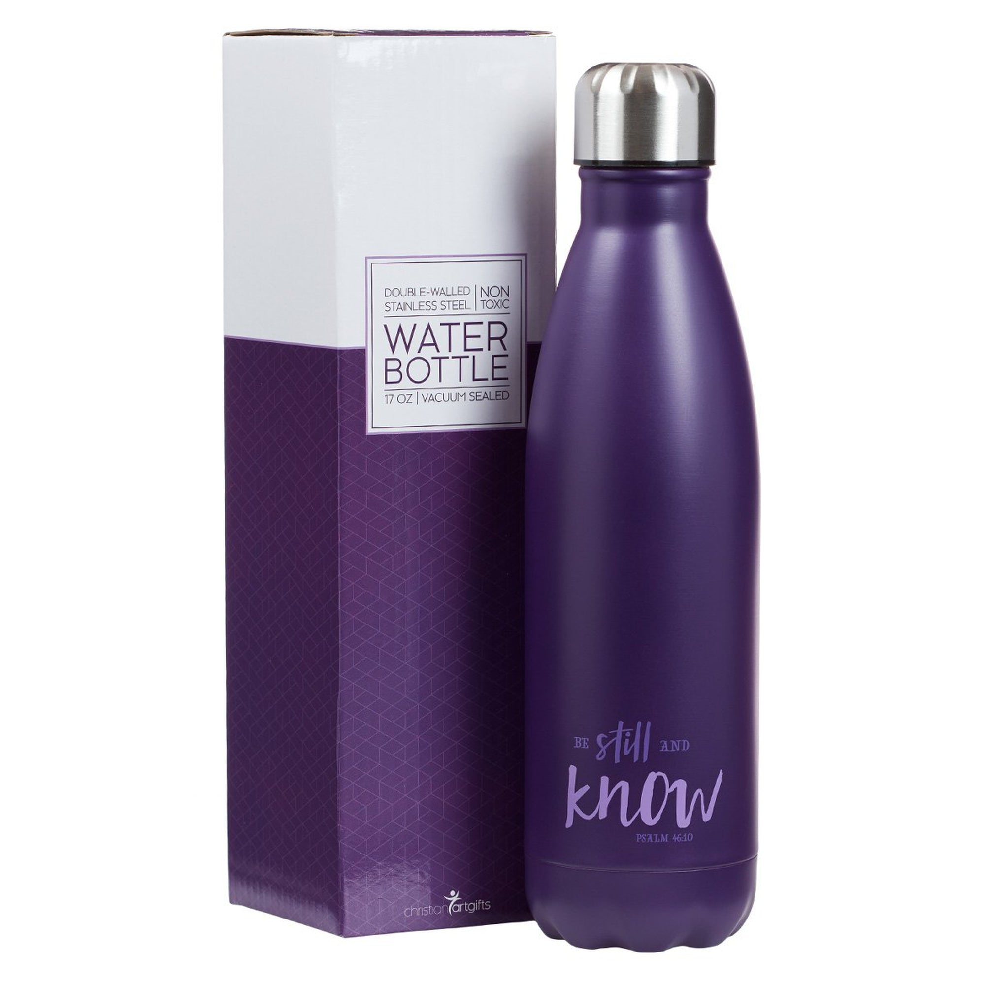 Be Still in Purple - Psalm 46:10 Stainless Steel Water Bottle
