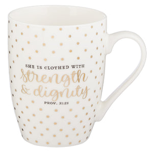 Strength & Dignity Coffee Mug – Proverbs 31:25