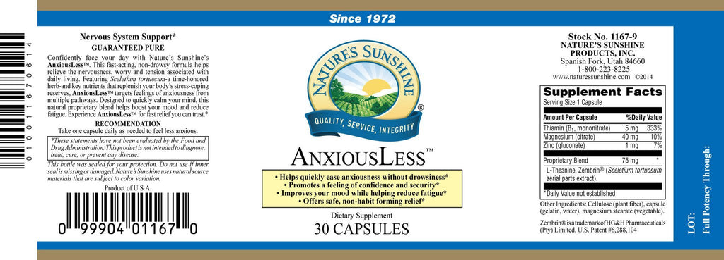 Nature's Sunshine AnxiousLess (30 caps) - Nature's Best Health Store