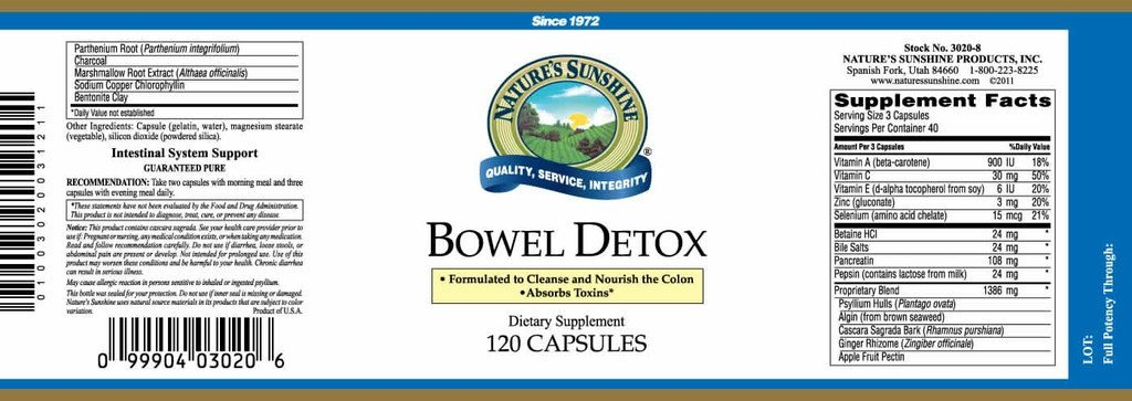 Nature's Sunshine Bowel Detox (120 caps) - Nature's Best Health Store