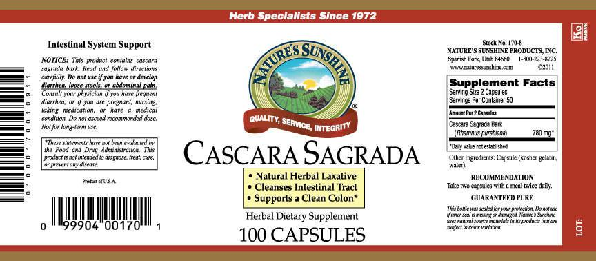 Nature's Sunshine Cascara Sagrada (100 caps) - Nature's Best Health Store