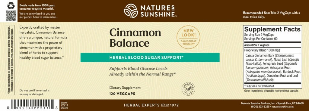 Nature's Sunshine Cinnamon Balance (120 Vegcaps) - Nature's Best Health Store