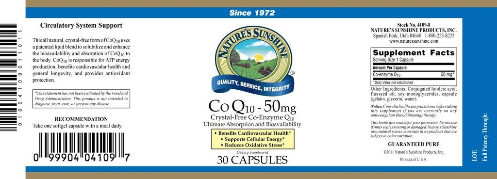Nature's Sunshine Co-Q10 (50 MG) (30 Softgel Caps) - Nature's Best Health Store