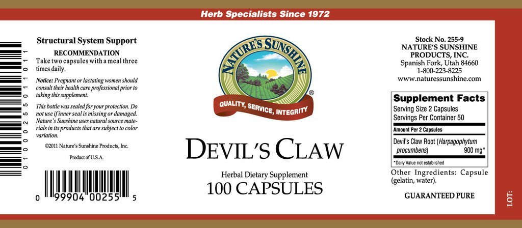Nature's Sunshine Devil's Claw (100 caps) - Nature's Best Health Store