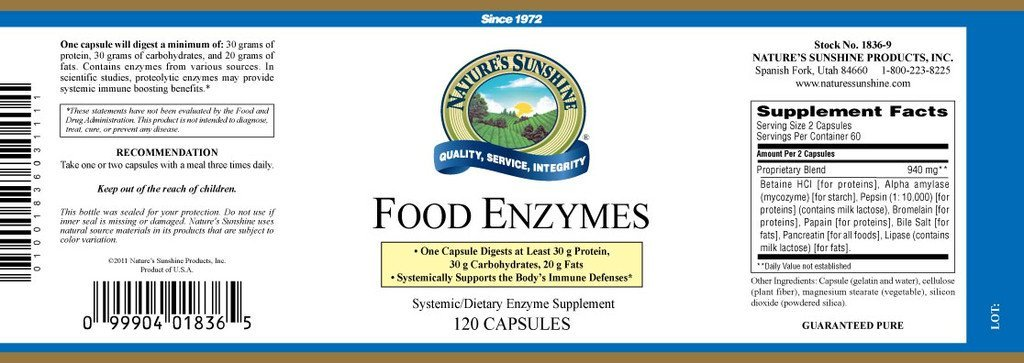 Nature's Sunshine Food Enzymes (120 caps) - Nature's Best Health Store
