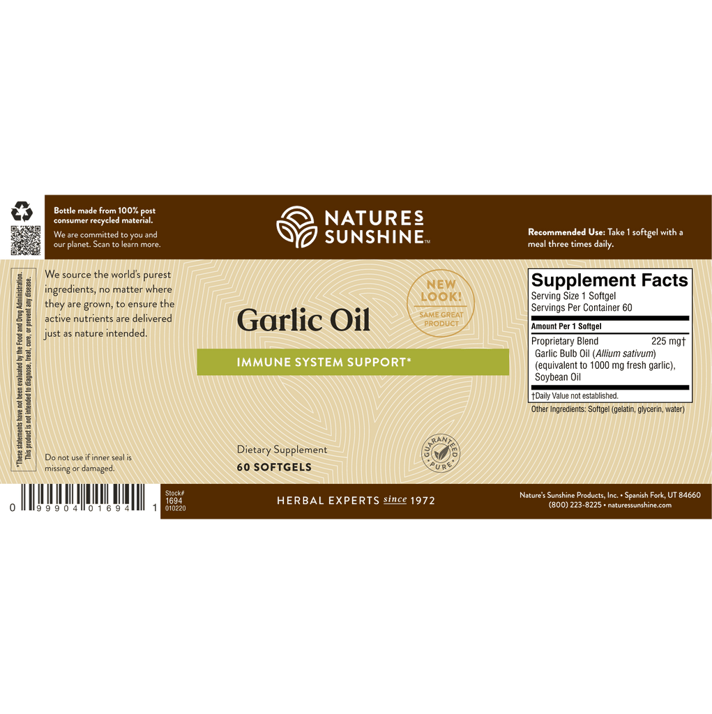 Nature's Sunshine Garlic Oil (60 softgel caps) - Nature's Best Health Store