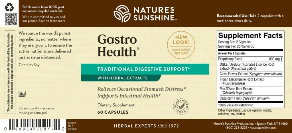 Nature's Sunshine Gastro Health Conc. (60 caps) - Nature's Best Health Store
