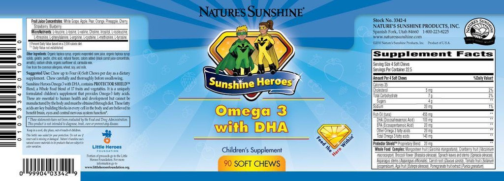 Nature's Sunshine Heroes Omega 3 with DHA (90 Soft chews) - Nature's Best Health Store