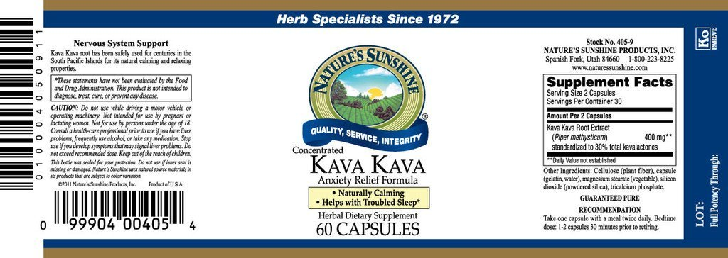 Nature's Sunshine Kava Kava Conc. (60 caps) - Nature's Best Health Store