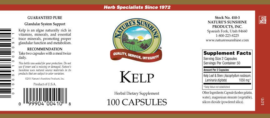 Nature's Sunshine Kelp (100 caps) - Nature's Best Health Store