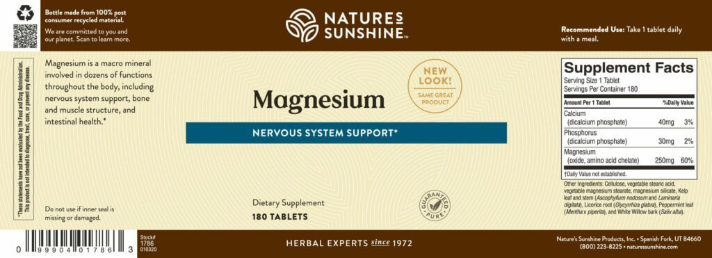 Nature's Sunshine Magnesium (250 mg) (180 tabs) - Nature's Best Health Store