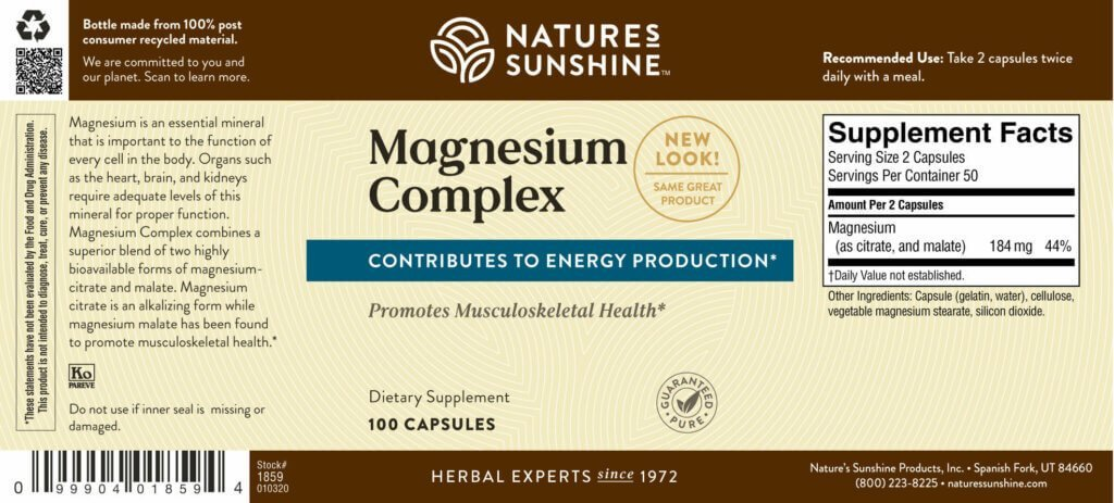 Nature's Sunshine Magnesium Complex (100 caps) - Nature's Best Health Store