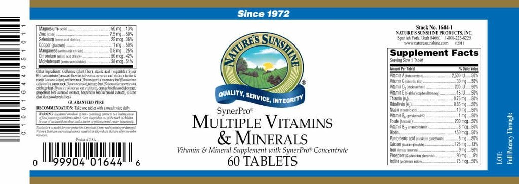 Nature's Sunshine Multiple Vit. & Min., SynerPro® (60 tabs) - Nature's Best Health Store