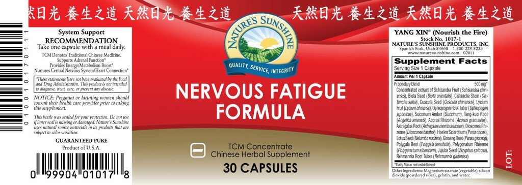 Nature's Sunshine Nervous Fatigue TCM Conc. (30 caps) - Nature's Best Health Store