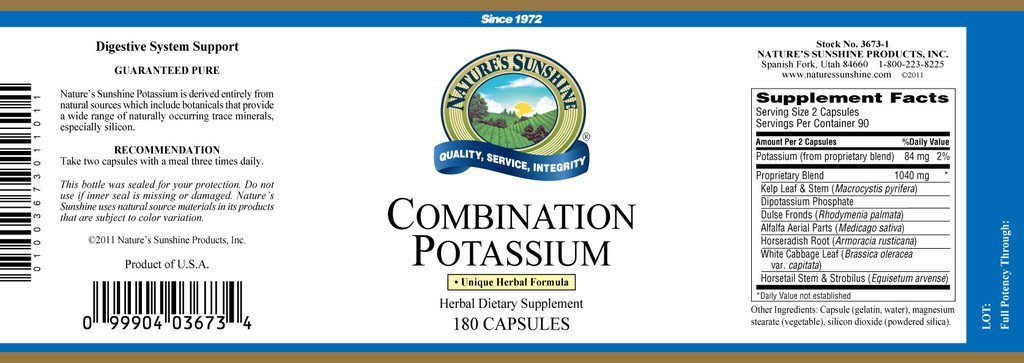 Nature's Sunshine Potassium, Combination (180 caps) - Nature's Best Health Store