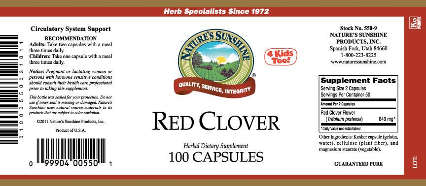 Nature's Sunshine Red Clover (100 caps) - Nature's Best Health Store