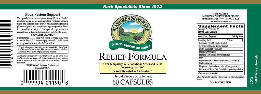 Nature's Sunshine Relief Formula (60 caps) - Nature's Best Health Store
