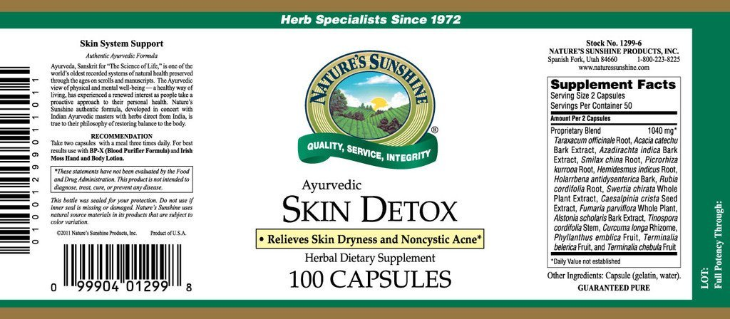 Nature's Sunshine Skin Detox, Ayurvedic (100 caps) - Nature's Best Health Store
