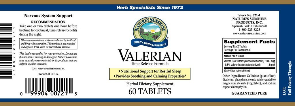 Nature's Sunshine Valerian Root Extract T/R (60 tabs) - Nature's Best Health Store