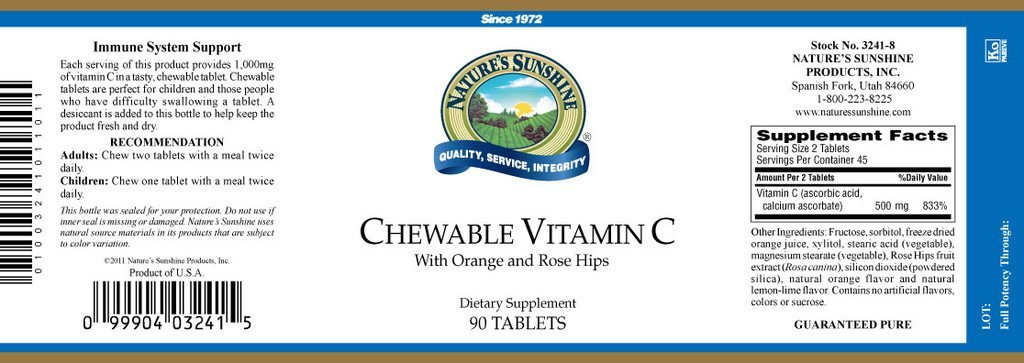 Nature's Sunshine Vitamin C (250 mg) (90 chewable tabs) NEW SIZE! - Nature's Best Health Store