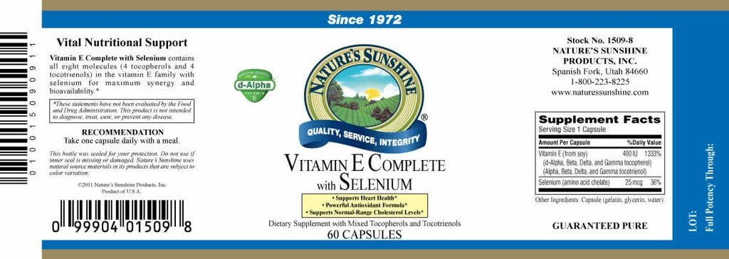 Nature's Sunshine Vitamin E Complete with Selenium (400 IU) (60 softgel caps) - Nature's Best Health Store