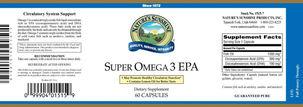 Super Omega-3 EPA (60 softgel caps) - Nature's Best Health Store